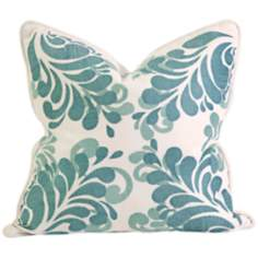 "Namid 18"" Square Embroidered Aqua Blue Throw Pillow"