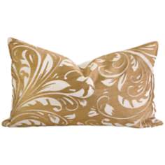 "Rozene 20"" Wide Embroidered Floral Throw Pillow"