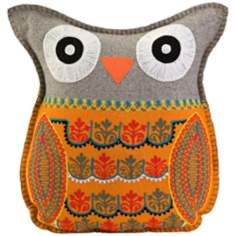 "Embroidered 16 1/2""H Grey and Orange Felt Owl Pillow"