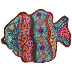 "Embroidered 18"" Wide Multi-Color Fish Pillow"