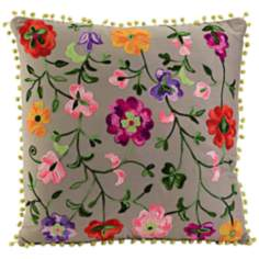 "Country Garden 20"" Square Floral Throw Pillow"