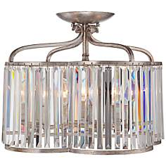 "Soft Silver 18"" Wide Crystal Ceiling Light"