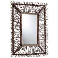 "Toland 34 1/2"" High Wood Branch Rectangular Wall Mirror"