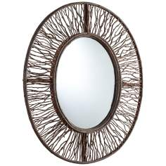 "Rossi 34"" High Wood Branch Oval Wall Mirror"