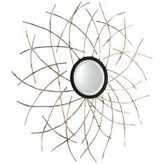 "Pico 40 1/4"" Round Antique Silver Leaf Wall Mirror"