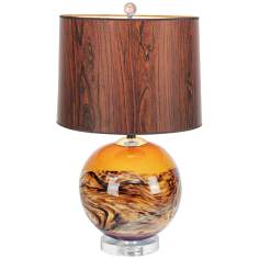 Mirage Horizon Glass Chrome and Crystal Table Lamp