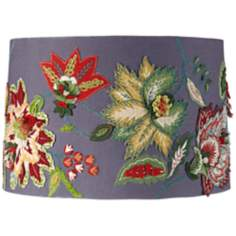 Embroidered Blue Floral Drum Lamp Shade 15x16x10.5 (Spider)
