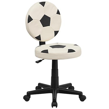Armless Black and White Soccer Office Chair