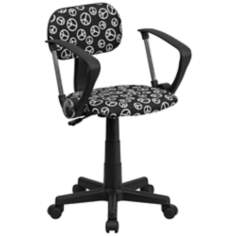 Black and White Peace Sign Computer Chair