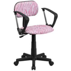 Pink and White Zebra Print Computer Chair