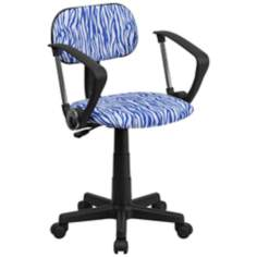 Blue and White Zebra Print Computer Chair