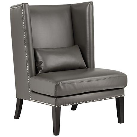 Malibu Gray Bonded Leather Wingback Chair