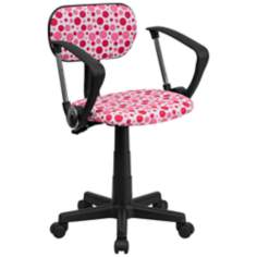 Upholstered Pink Dot Computer Chair