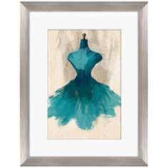 "Teal Couture Fashion 18"" Framed Wall Art"