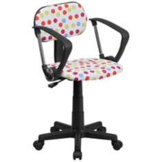 Multi-Color Dot Print Computer Chair