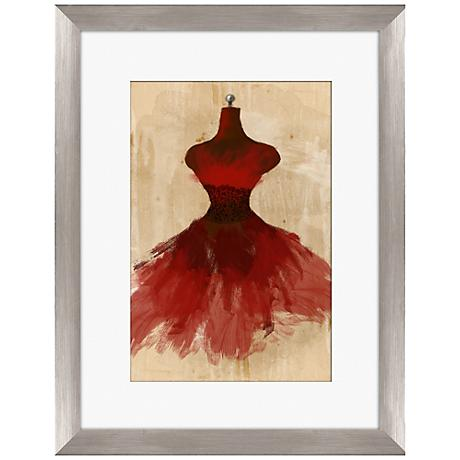 "Red Couture Fashion 18"" Framed Wall Art"