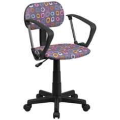 Upholstered Brown Pattern Office Chair