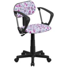 Multi-Color Flower Print Office Chair
