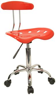 Tractor Chrome and Vibrant Red Computer Task Chair (2K542) 2K542