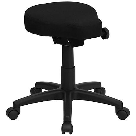 Backless Saddle-Seat Black Utility Stool