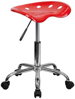 Adjustable Tractor Seat Chrome and Vibrant Red Stool (2K632) 2K632