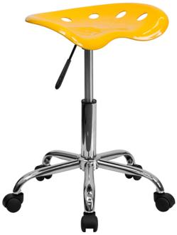 Adjustable Tractor Chrome and Orange-Yellow Stool (2K652) 2K652