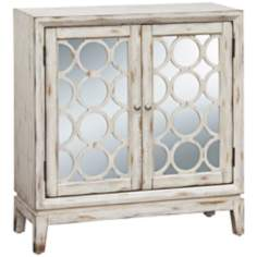 "Quinn 34"" High Distressed White Mirrored Hall Chest"