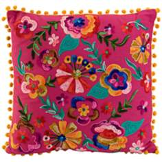 "Cindi 16"" Square Embroidered Pink Throw Pillow"