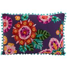 "Kelsey 20"" Wide Embroidered Plum Throw Pillow"