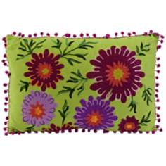 "Whitney 20"" Wide Embroidered Lime Throw Pillow"