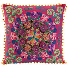 "Diane 20"" Square Embroidered Pink Throw Pillow"