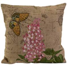 "Cabrera 17 3/4""W Embroidered Butterfly Accent Pillow"