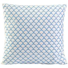 "Suryan 17 3/4"" Square Embroidered Blue Accent Pillow"