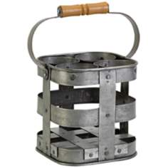 4-Bottle Galvanized Iron Wine Caddy