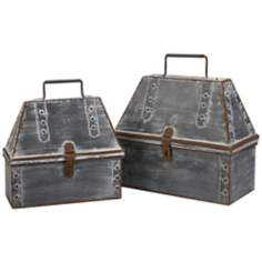 Set of 2 Kingston Antique Lunch Pail Storage Boxes
