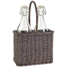 Olivia Willow Grey 2-Bottle Caddy
