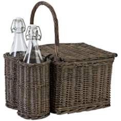 2-Bottle Woven Willow Grey Picnic Basket
