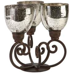 Robin 3-Light Iron and Mercury Glass Candelabra