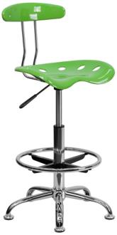 Tractor Chrome and Vibrant Lime Green Drafting Stool (2K855) 2K855