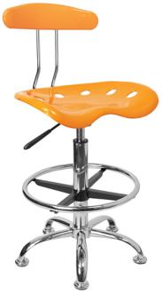 Tractor Chrome and Orange-Yellow Drafting Stool (2K861) 2K861