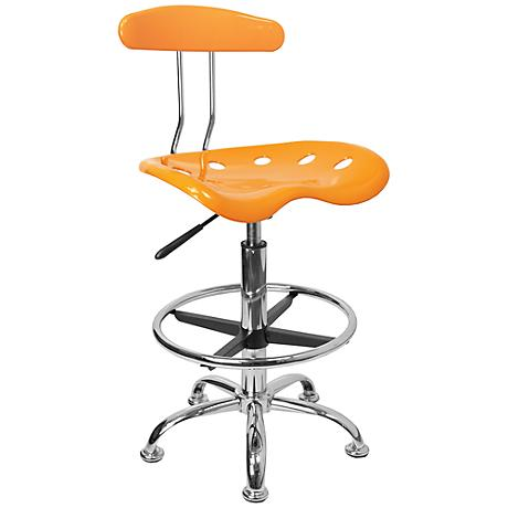 Tractor Chrome and Orange-Yellow Drafting Stool