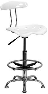 Tractor Chrome and Vibrant White Drafting Stool (2K863) 2K863