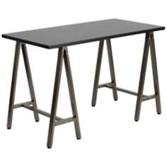 Sawhorse Brown and Black Computer Desk