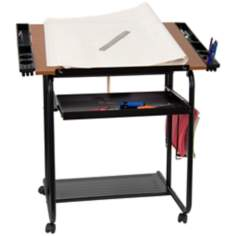 Adjustable Black Drawing and Drafting Table