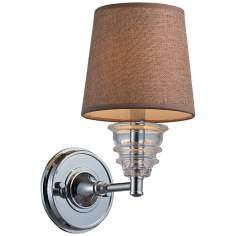 Insulator Glass Polished Chrome Swing Arm Wall Lamp