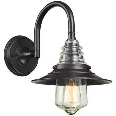 Industrial Insulator Glass Oiled Bronze Wall Lamp