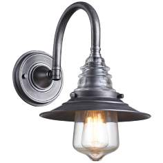 Industrial Insulator Glass Weathered Zinc Wall Lamp