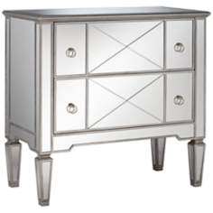 Mackenzie Criss-Cross 2-Drawer Mirrored Chest