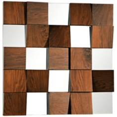 "Westside Walnut Veneer 36"" Contemporary Square Wall Mirror"