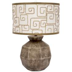 Bedrock Ceramic Key Print Shade Table Lamp